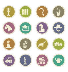 agricultural icons set vector image