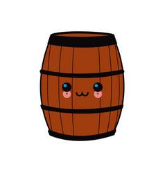 cartoon wooden wine barrel vector image