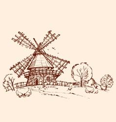 Landscape mill chicken vector