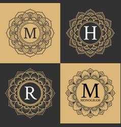 monogram circle frame vintage luxury style vector image