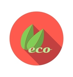 Two green leafs flat icon vector image