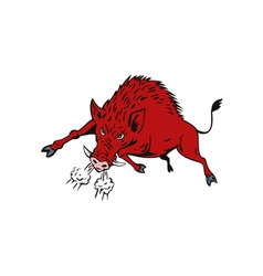 Wild Hog Jumping vector image vector image