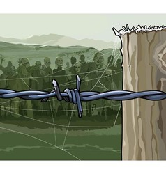Cartoon zombie crowd behind barbed wire vector