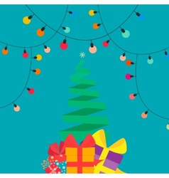 Christmas tree with gifts in style flat vector image