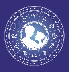 couple man and woman and horoscope vector image vector image
