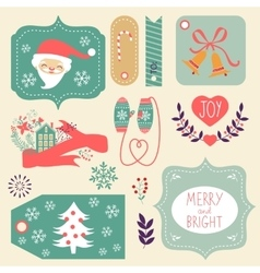 Gift tags and Christmas graphic elements vector image vector image