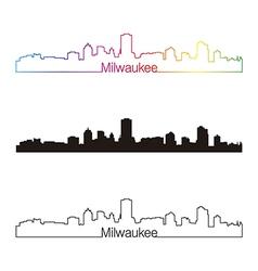 Milwaukee skyline linear style with rainbow vector image