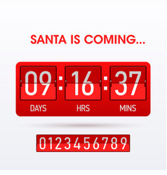 santa is coming christmas countdown timer vector image