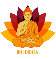sitting buddha over lotus flower background vector image