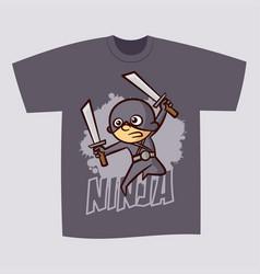 T-shirt print design superhero ninja boy vector