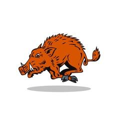 Wild hog jumping vector