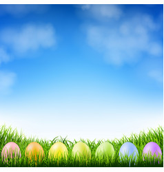 blue sky and easter eggs vector image vector image