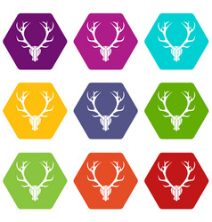 deer antler icon set color hexahedron vector image vector image