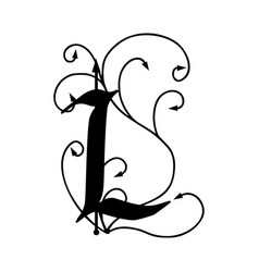 Letter l with arrows vector