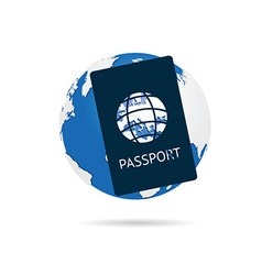 passport with planet earth color on white vector image
