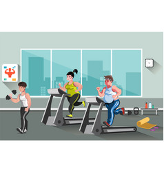 people go in for sports in the fitness club vector image