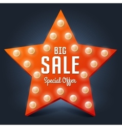 Sale retro light star Big Sale vector image vector image
