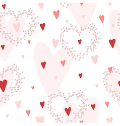 seamless pattern with hearts and wreaths vector image