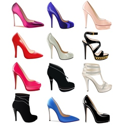 set of womens shoes with heels vector image vector image