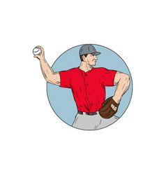 american baseball pitcher throwing ball circle vector image