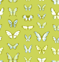 green seamless background with butterflies vector image vector image