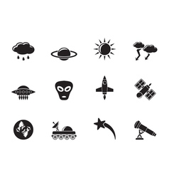 Silhouette Astronautics and Space and Universe vector image vector image