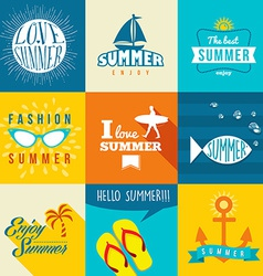 Summer flat label set vector image