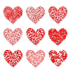 Valentine hearts red for your design vector image vector image