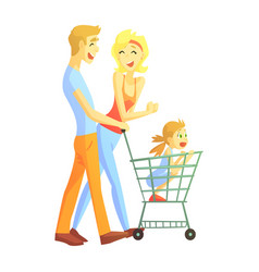 young parents with little girl shopping happy vector image vector image