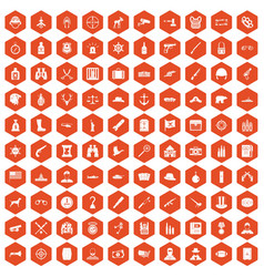 100 bullet icons hexagon orange vector image