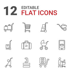 12 cart icons vector image