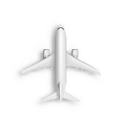 3d abstract white airplane top view isolated vector image