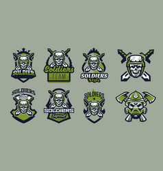 A set of emblems badges logos of military vector