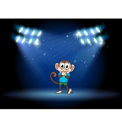 A young monkey at the stage with spotlights vector