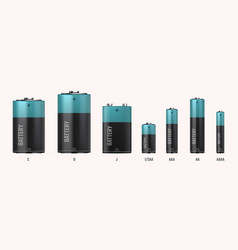Battery types realistic electric alkaline cells vector
