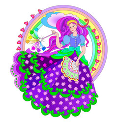 Beautiful fairyland princess with magic wand vector
