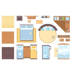 bedroom elements - set of modern objects vector image