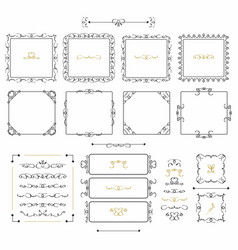 Black doodle line square frames and borders set vector