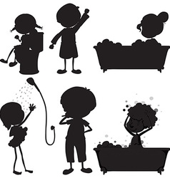 Black sketches of the different morning routines vector image