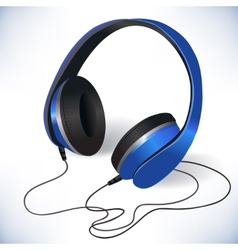 blue isolated headphones emblem vector image