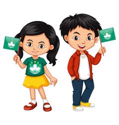 boy and girl holding macau flag vector image