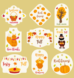 bundle autumn labels with different characters vector image