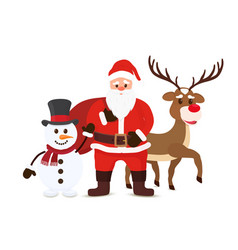 cartoon santa claus snowman and reindeers vector image