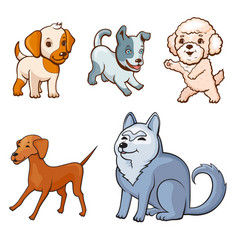 Cartoon style dogs set vector
