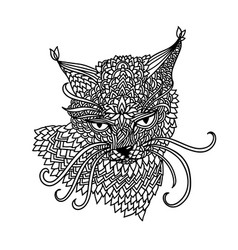 Cat in mandala pattern style zentagle black and vector