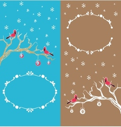 Christmas background cardinal bird brunch vector image