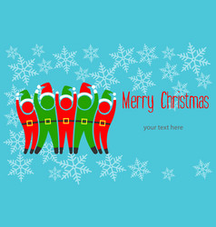 christmas elves greeting card vector image