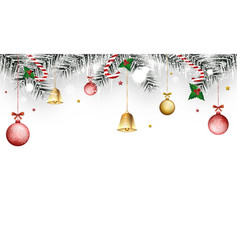 christmas winter banner with holly berries golden vector image