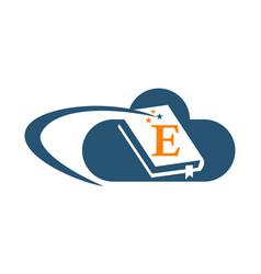 Cloud ebook solutions initial e vector