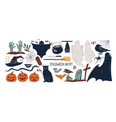 collection vintage halloween creepy stickers vector image